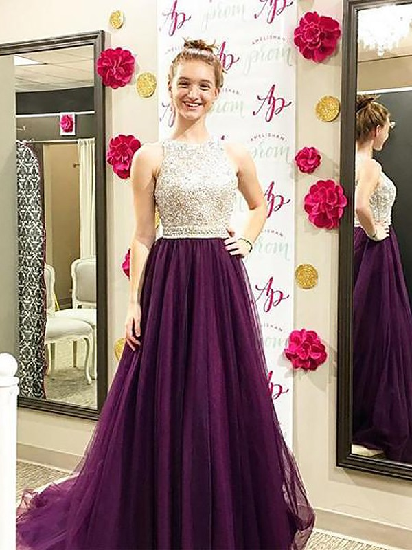 Grape Tulle Bateau A-Line/Princess Sweep/Brush Train Dresses