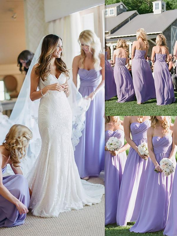Lavender Chiffon Sweetheart A-Line/Princess Floor-Length Bridesmaid Dresses