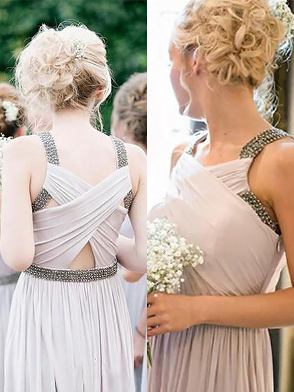 Champagne Chiffon Straps A-Line/Princess Floor-Length Bridesmaid Dresses