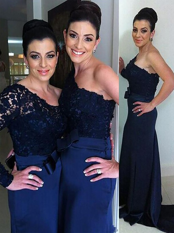 Dark Navy Chiffon One-Shoulder Trumpet/Mermaid Floor-Length Bridesmaid Dresses