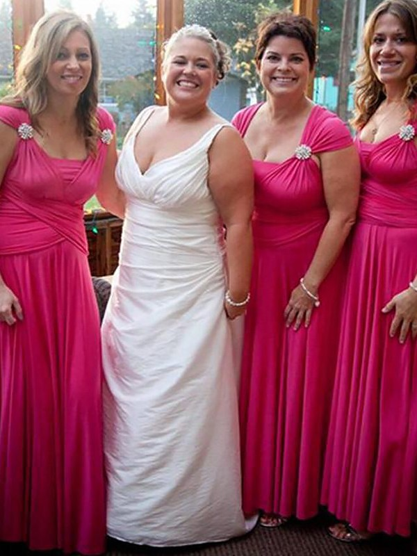 Fuchsia Chiffon Straps A-Line/Princess Floor-Length Bridesmaid Dresses