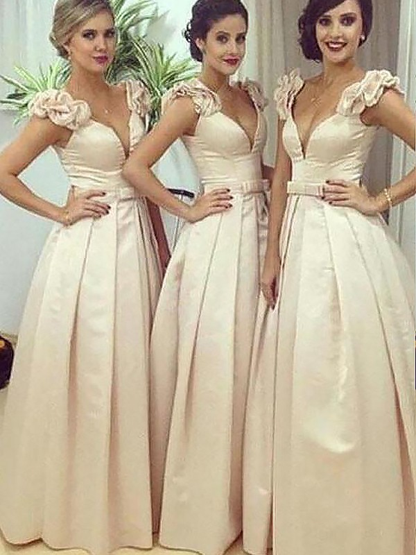 Champagne Satin Straps A-Line/Princess Floor-Length Bridesmaid Dresses