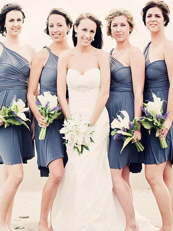 Grey Chiffon One-Shoulder A-Line/Princess Short/Mini Bridesmaid Dresses