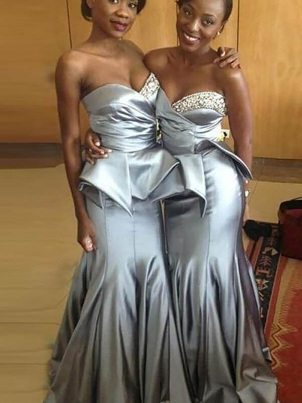 Silver Satin Sweetheart Trumpet/Mermaid Sweep/Brush Train Bridesmaid Dresses