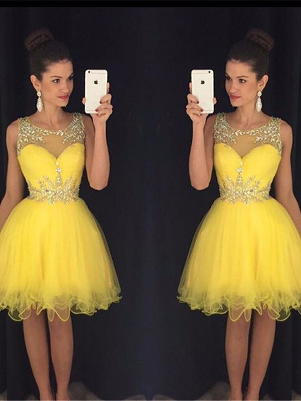 Yellow Tulle Scoop A-line/Princess Short/Mini Dresses