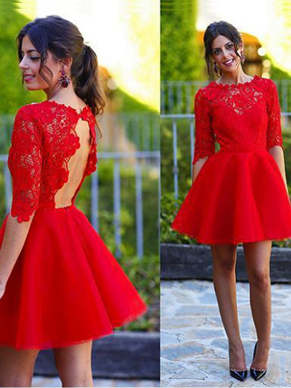 Red Lace Scoop A-line/Princess Short/Mini Dresses