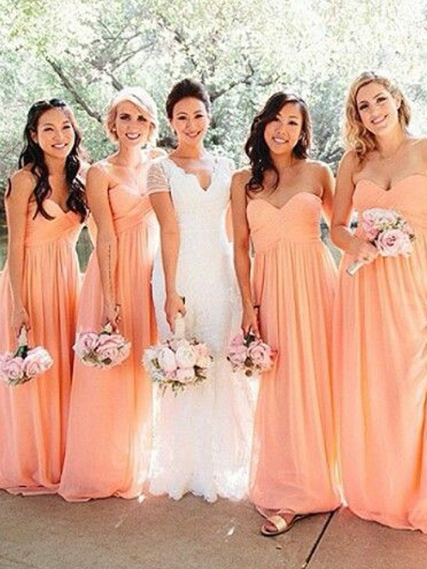 Orange Chiffon Sweetheart A-Line/Princess Floor-Length Bridesmaid Dresses