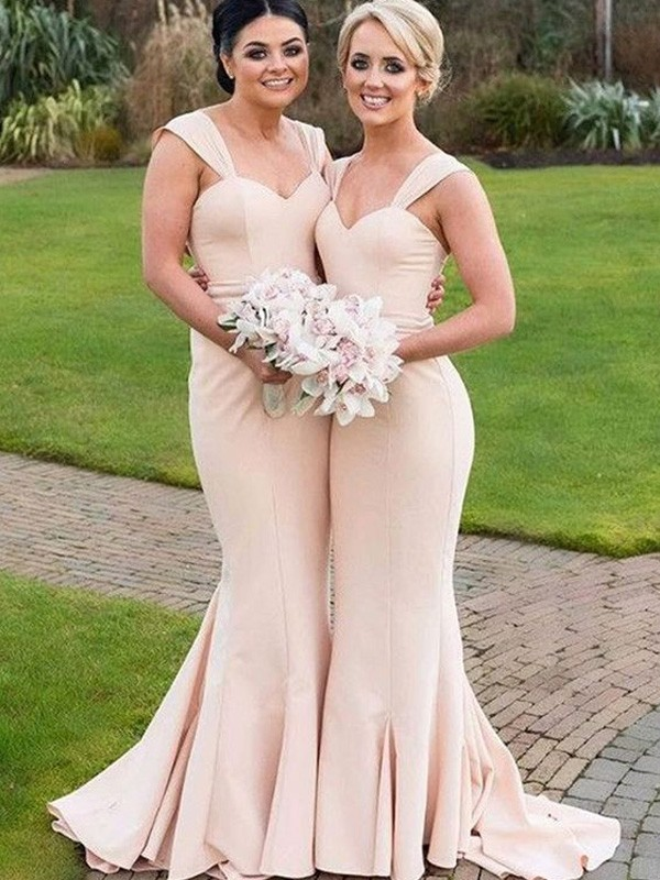 Pearl Pink Satin Sweetheart Trumpet/Mermaid Floor-Length Bridesmaid Dresses
