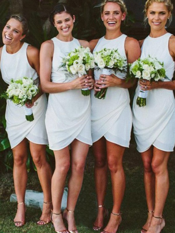 White Chiffon Scoop Sheath/Column Short/Mini Bridesmaid Dresses
