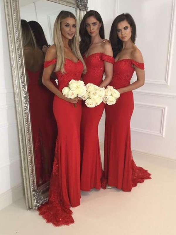 Red Jersey Off-the-Shoulder Trumpet/Mermaid Sweep/Brush Train Bridesmaid Dresses