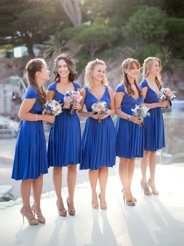 Royal Blue Chiffon V-neck A-Line/Princess Short/Mini Bridesmaid Dresses