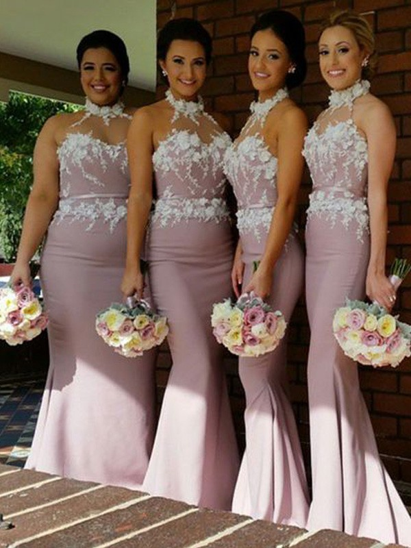 Pearl Pink Satin Halter Trumpet/Mermaid Floor-Length Bridesmaid Dresses
