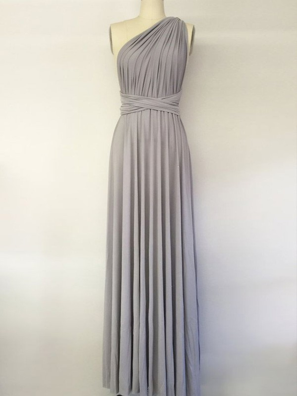 Grey Spandex One-Shoulder A-Line/Princess Floor-Length Bridesmaid Dresses