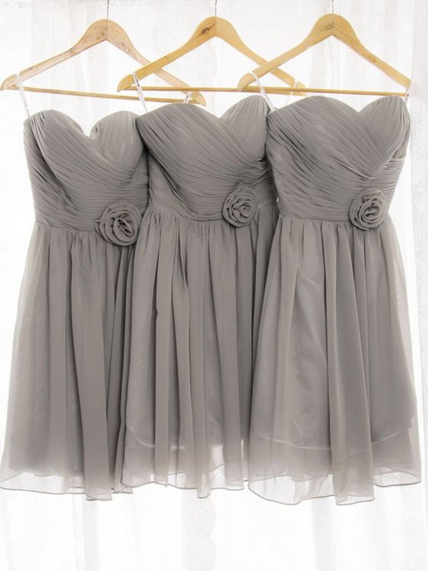 Grey Chiffon Sweetheart A-Line/Princess Short/Mini Bridesmaid Dresses