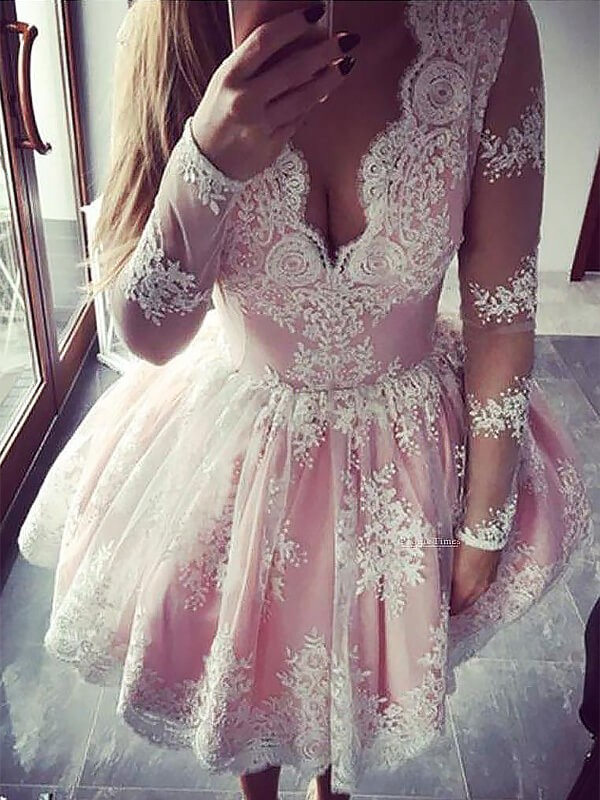Pink Lace V-neck A-line/Princess Short/Mini Homecoming Dresses