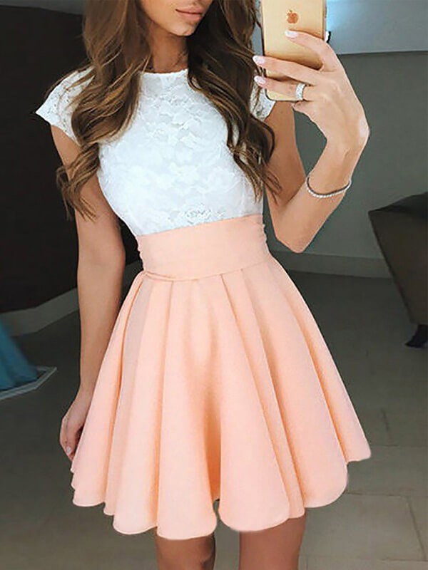Pink Chiffon Jewel A-line/Princess Short/Mini Homecoming Dresses