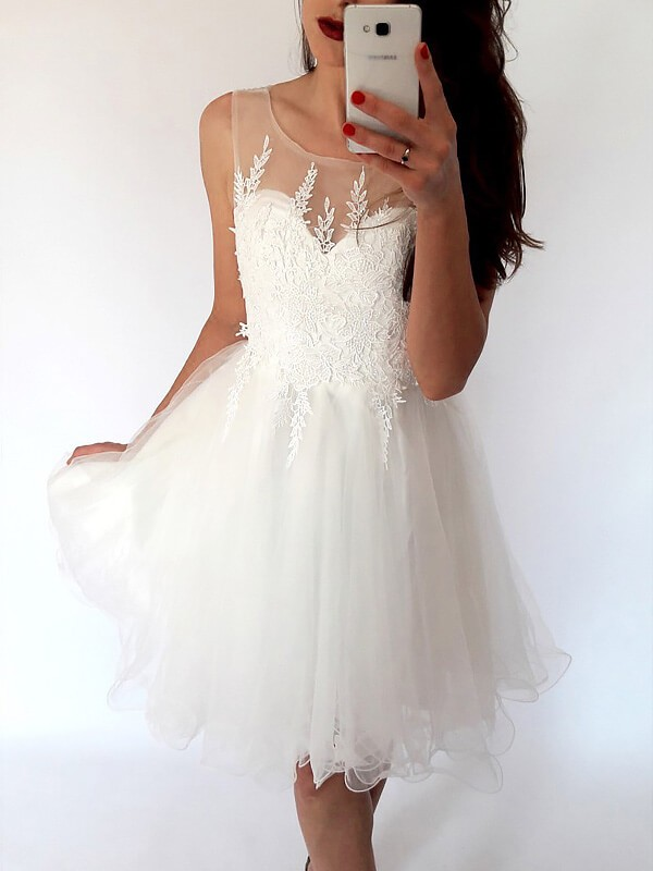 White Tulle Scoop A-line/Princess Short/Mini Homecoming Dresses