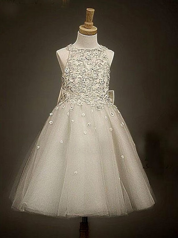 Champagne Organza Scoop A-Line/Princess Ankle-Length Flower Girl Dresses