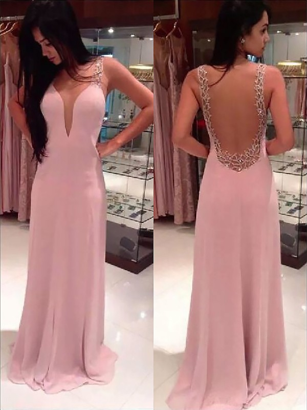 Pearl Pink Chiffon Straps A-Line/Princess Floor-Length Dresses
