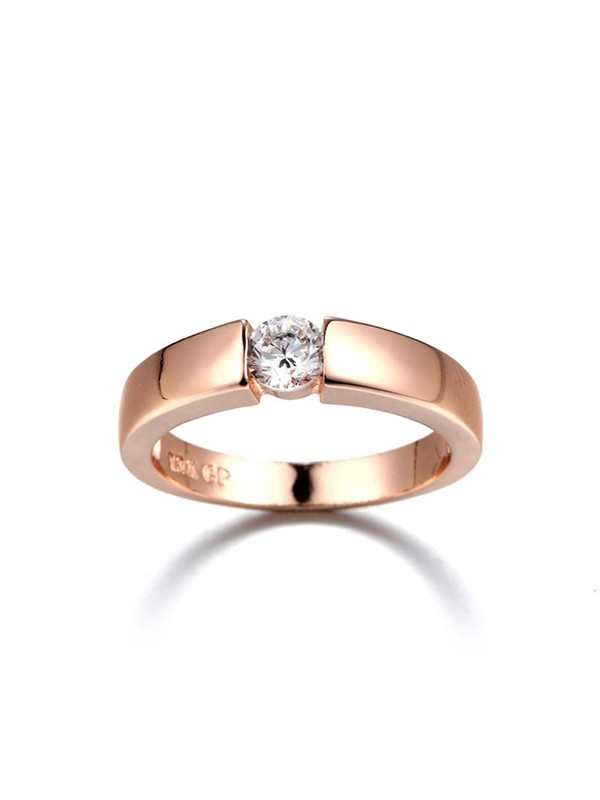 Pretty Copper With Zircon Hot Sale Wedding Rings