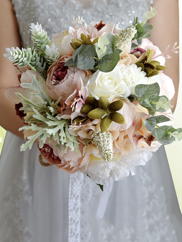 Blooming Free-Form Artificial Flower Bridal Bouquets