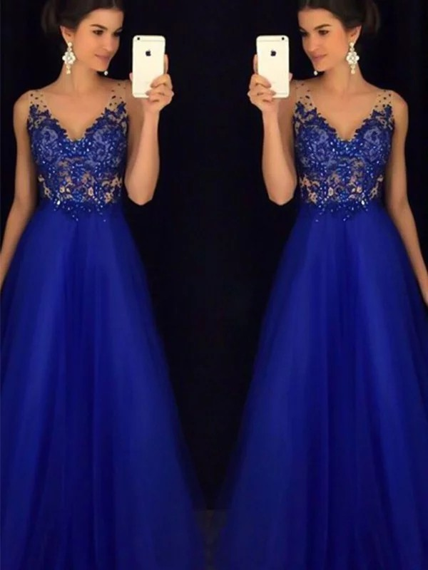 Royal Blue Tulle V-neck A-Line/Princess Floor-Length Dresses