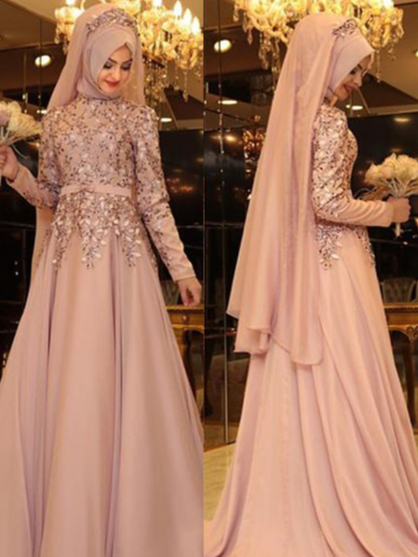 Pink Chiffon High Neck A-Line/Princess Floor-Length Dresses
