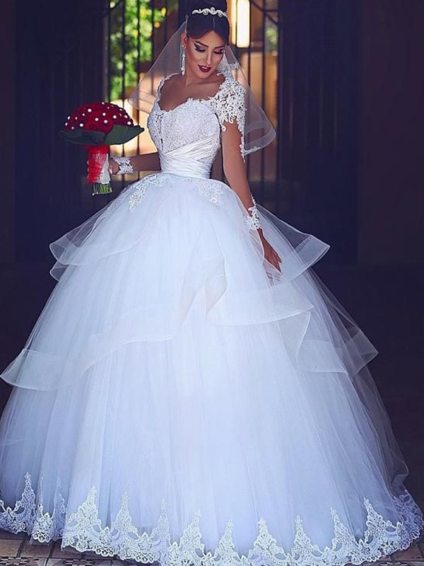 White Tulle Sweetheart Ball Gown Floor-Length Wedding Dresses