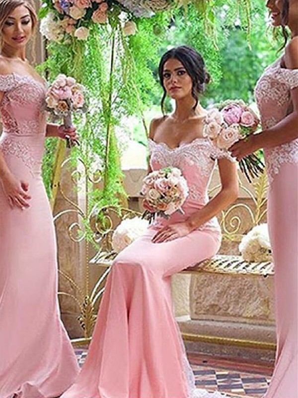 Pink Satin Off-the-Shoulder Sheath/Column Sweep/Brush Train Bridesmaid Dresses