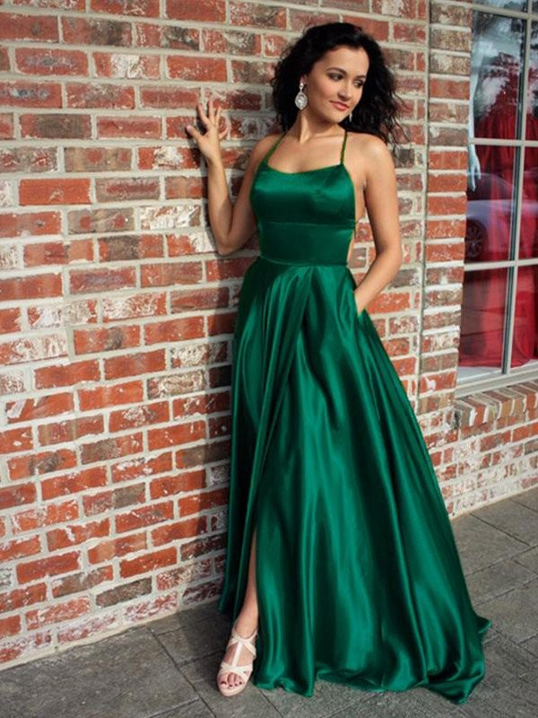 Dark Green Silk like Satin Straps A-Line/Princess Sweep/Brush Train Dresses