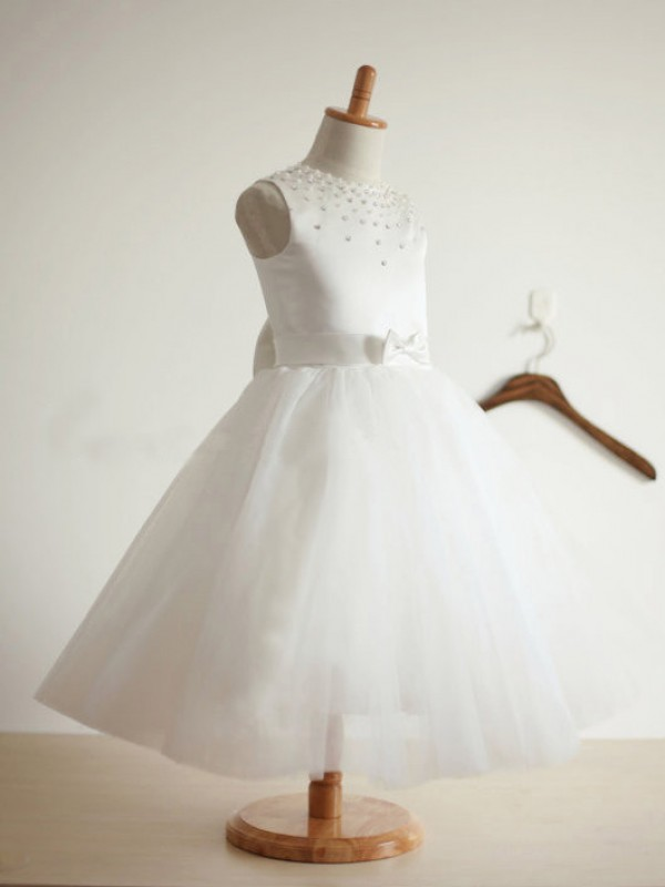 Ivory Tulle Jewel Ball Gown Tea-Length Flower Girl Dresses