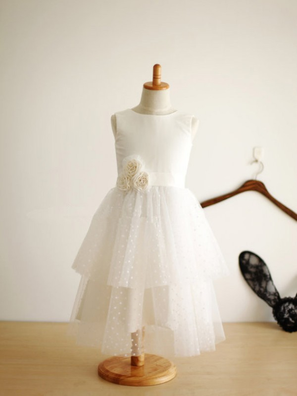 Ivory Tulle Jewel A-Line/Princess Tea-Length Flower Girl Dresses