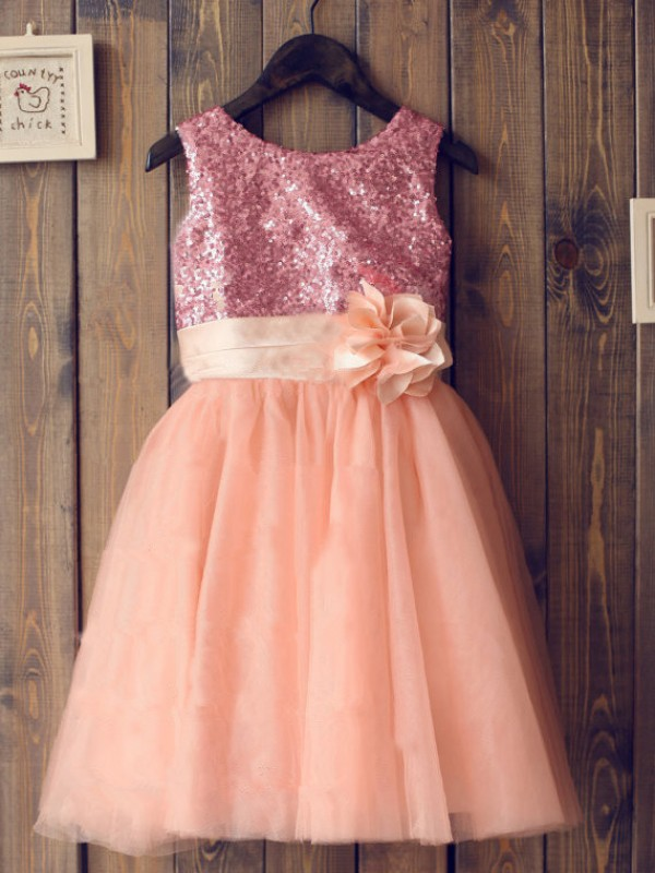 Orange Tulle Scoop A-Line/Princess Tea-Length Flower Girl Dresses