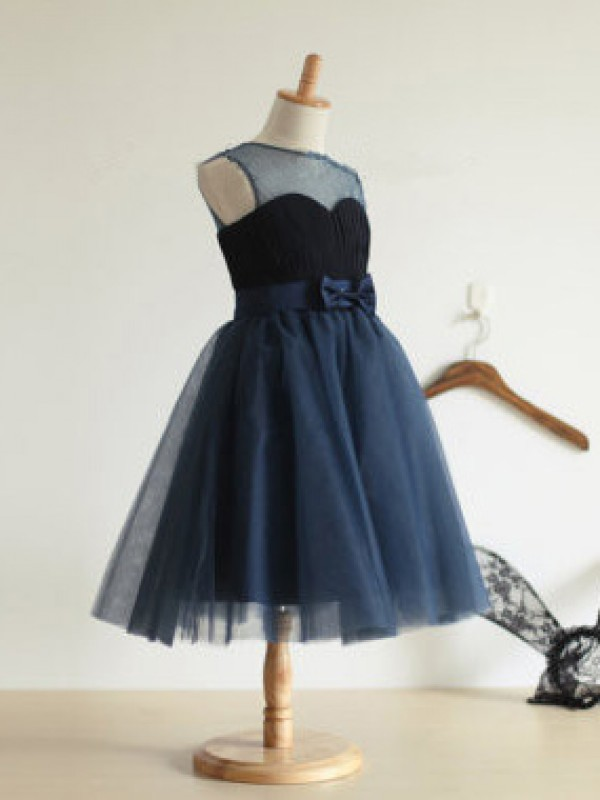 Dark Navy Tulle Jewel Ball Gown Tea-Length Flower Girl Dresses