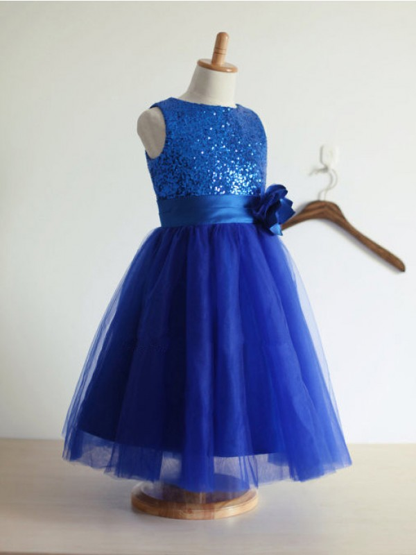 Royal Blue Tulle Jewel A-Line/Princess Ankle-Length Flower Girl Dresses