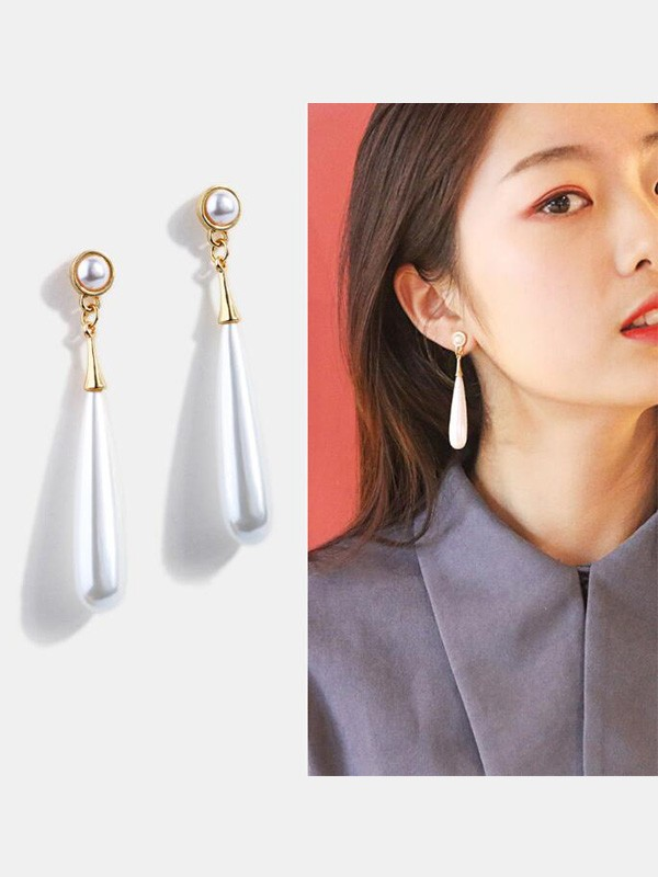 Elegant Alloy With Pearl Long Earrings