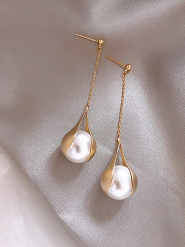 Brilliant 925 Sterling Silver With Pearl Long Earrings