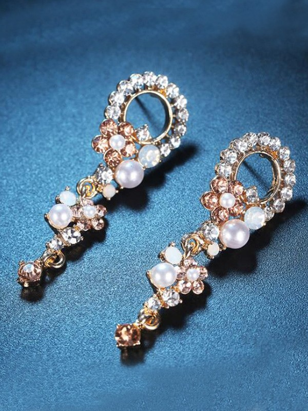 Korean Luxurious Alloy With Rhinestone Women Earrings