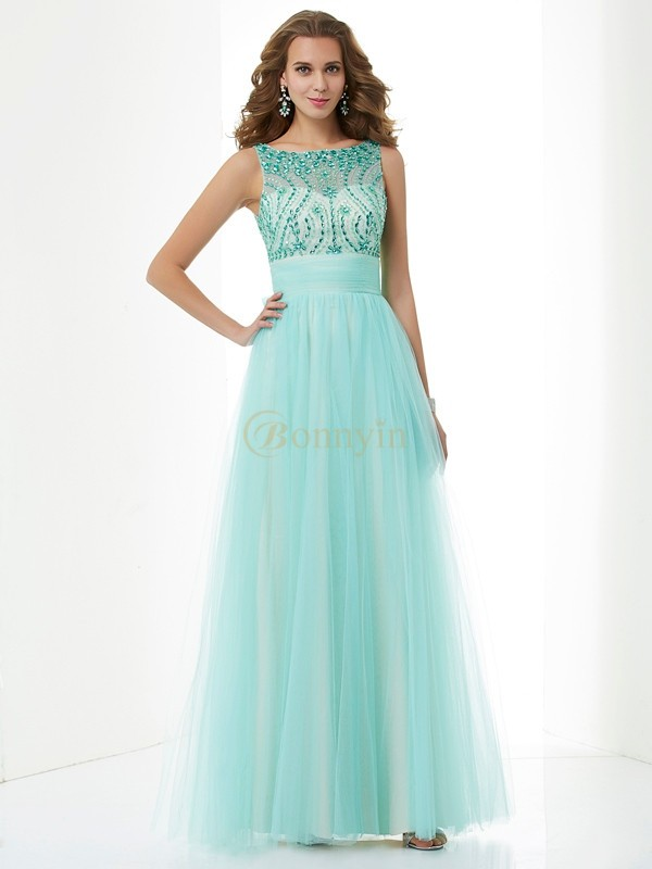 Green Elastic Woven Satin Net Bateau A-Line/Princess Floor-Length Dresses