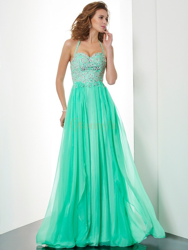 Hunter Green Chiffon Halter A-Line/Princess Sweep/Brush Train Dresses