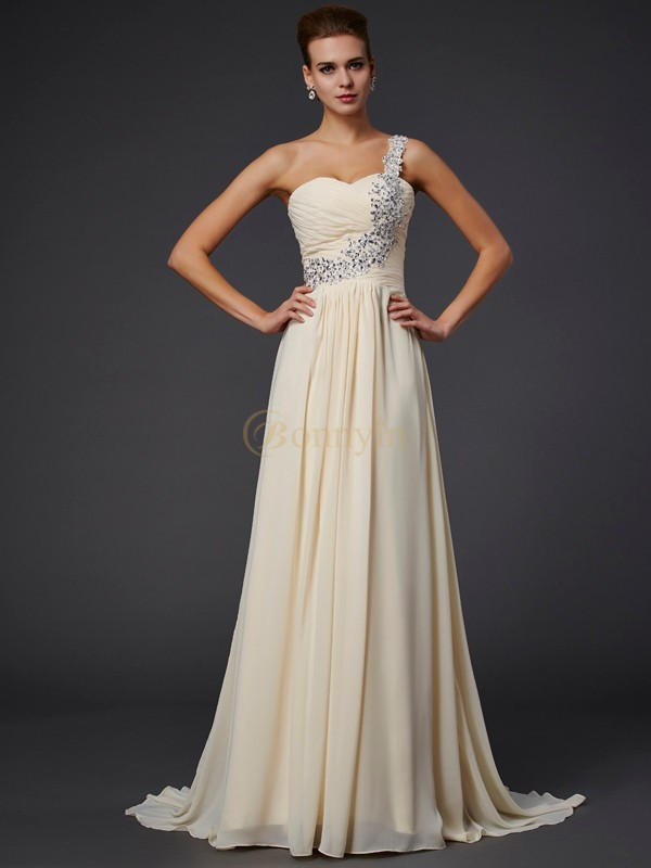 Daffodil Chiffon One-Shoulder A-Line/Princess Floor-Length Dresses