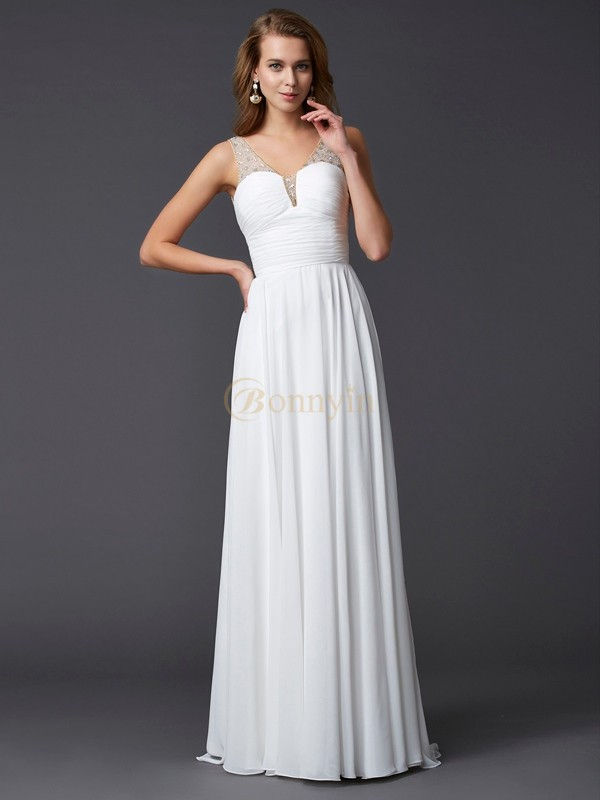 White Chiffon Straps Sheath/Column Floor-Length Dresses