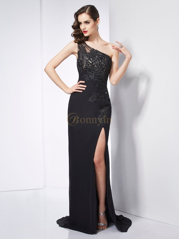 Black Chiffon One-Shoulder Sheath/Column Sweep/Brush Train Dresses