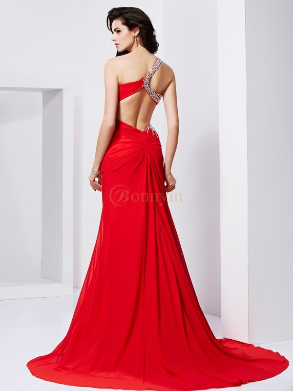 Red Chiffon Sweetheart One-Shoulder Trumpet/Mermaid Sweep/Brush Train Dresses