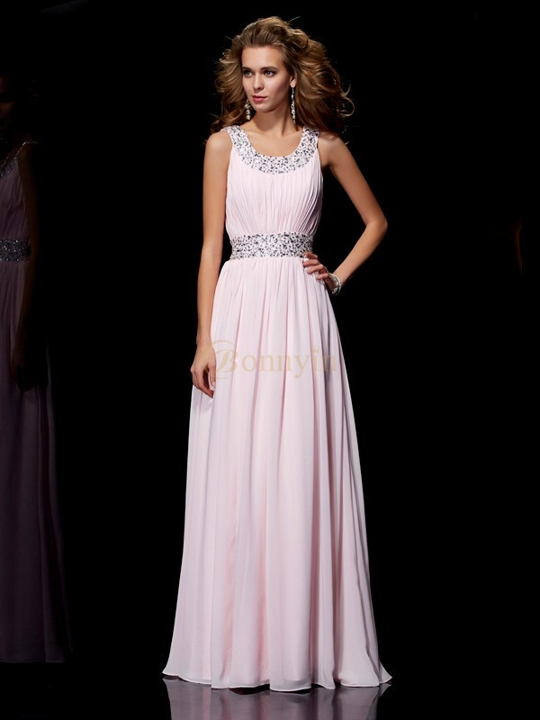 Pink Chiffon Scoop A-Line/Princess Floor-Length Dresses