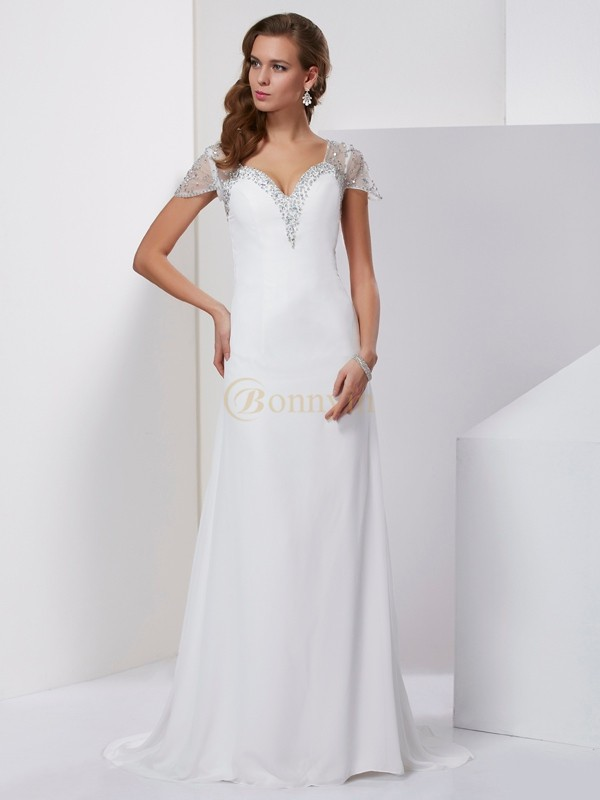 White Chiffon Sweetheart A-Line/Princess Sweep/Brush Train Dresses