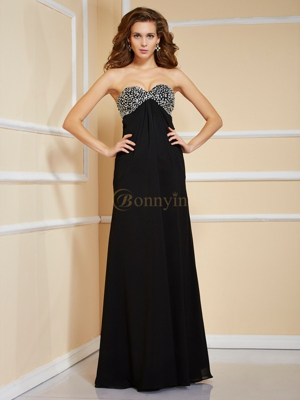Black Chiffon Sweetheart Sheath/Column Floor-Length Dresses