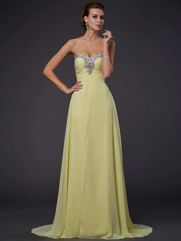 Yellow Chiffon Sweetheart A-Line/Princess Floor-Length Dresses