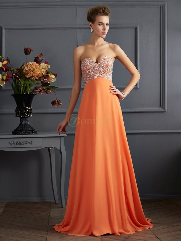 Orange Chiffon Sweetheart A-Line/Princess Sweep/Brush Train Dresses