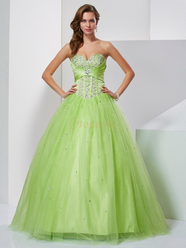 Green Tulle Sweetheart Ball Gown Floor-Length Dresses